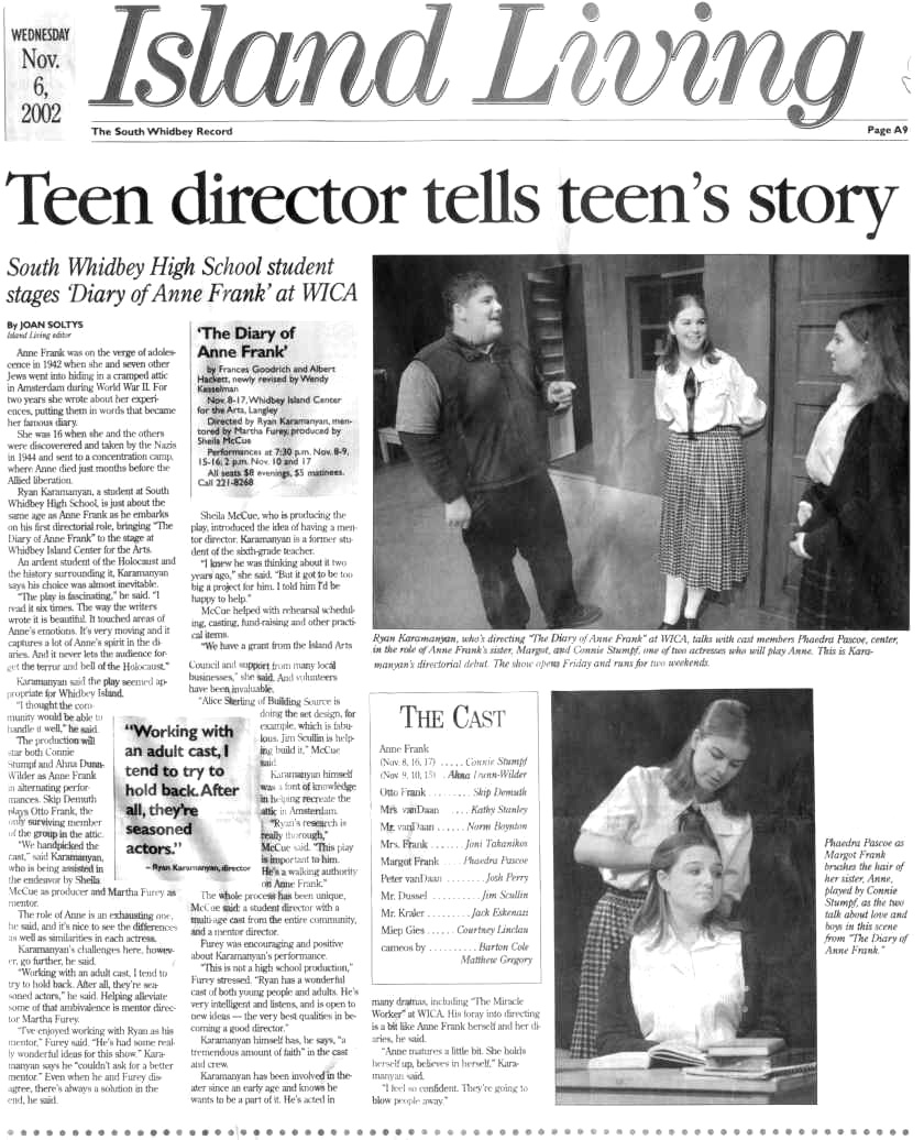 Anne Frank article from The South Whidbey Record