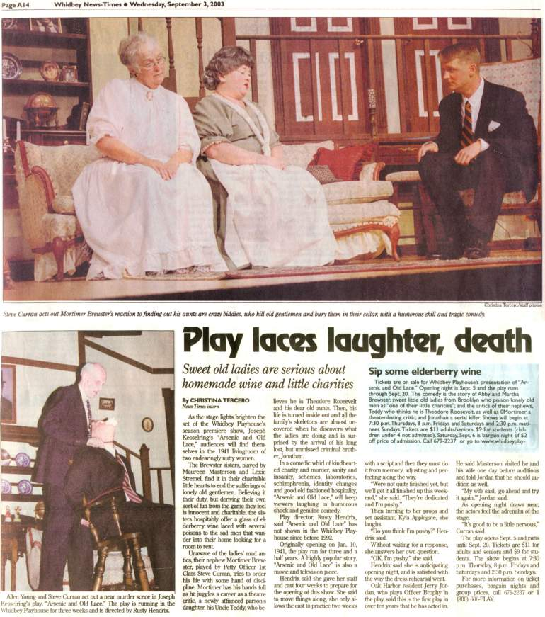 """Arsenic and Old Lace"" Article from Whidbey News Times - 9/3/03"