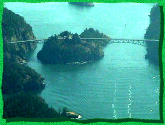 Deception Pass viewed from air.  -Photo by Norm Boynton