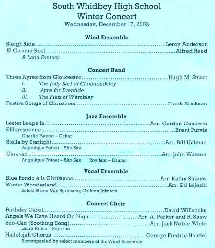 Printed Program for Winter Concert - 12/17/03