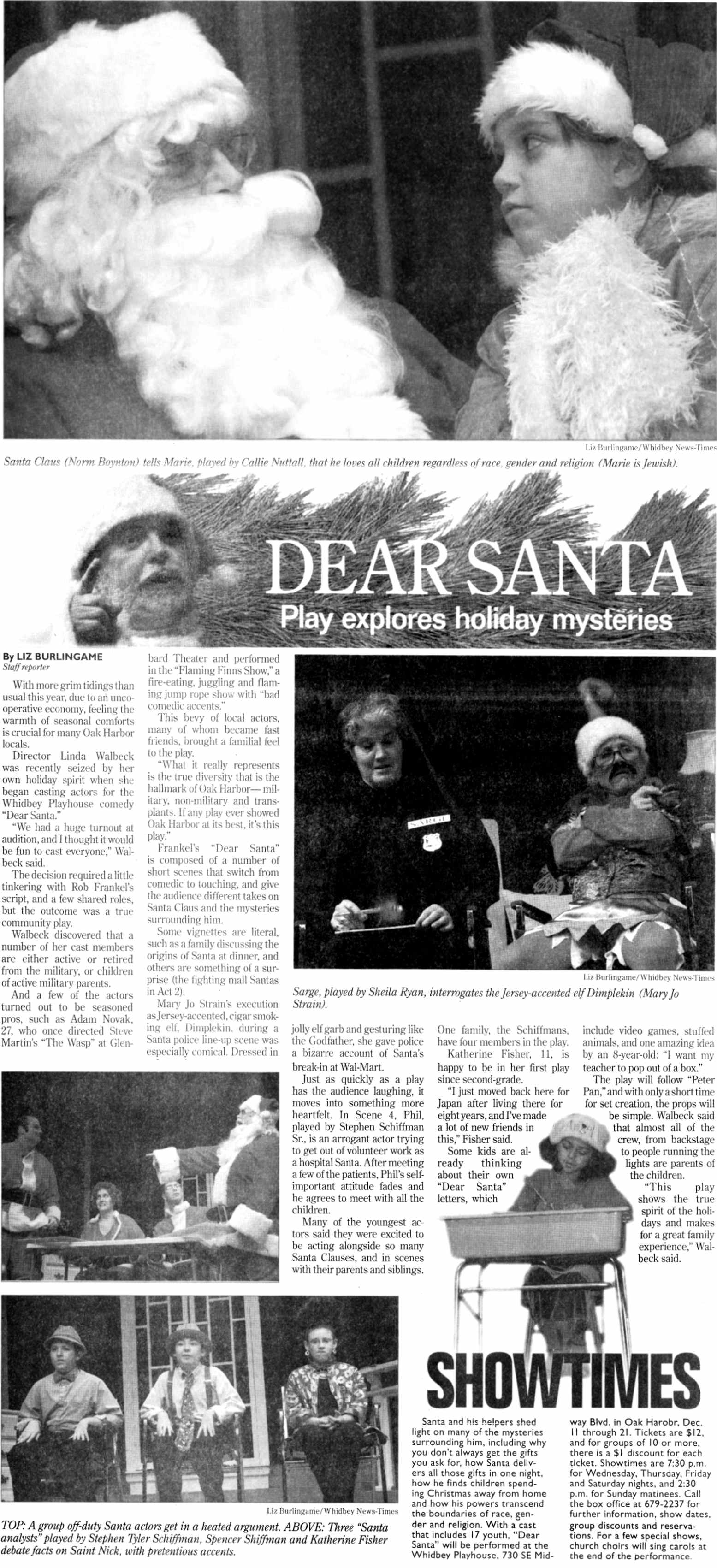 "News-Times Article on ""Dear Santa"" published 12/6/08 - Enlarged"