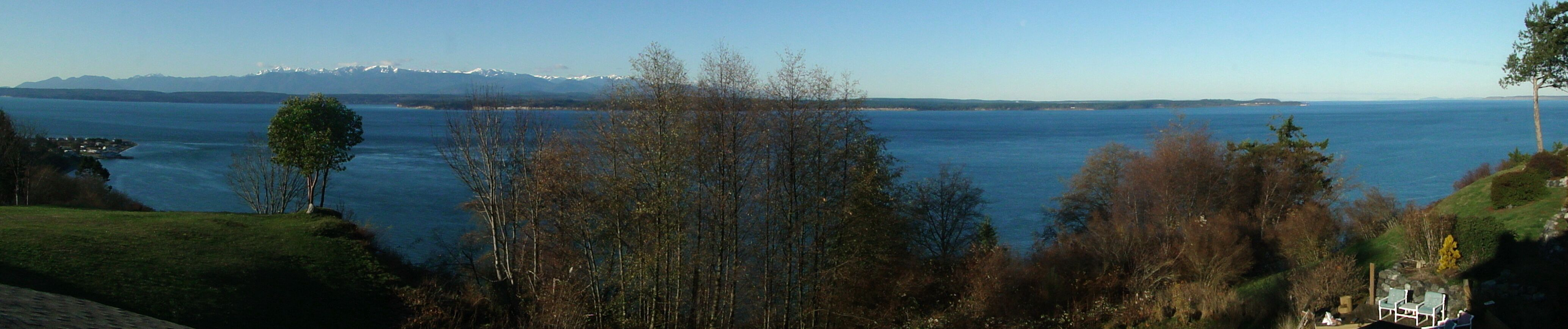 Panoramic digital photo of the Olympic Mountains I took from our home on December 5, 2009.