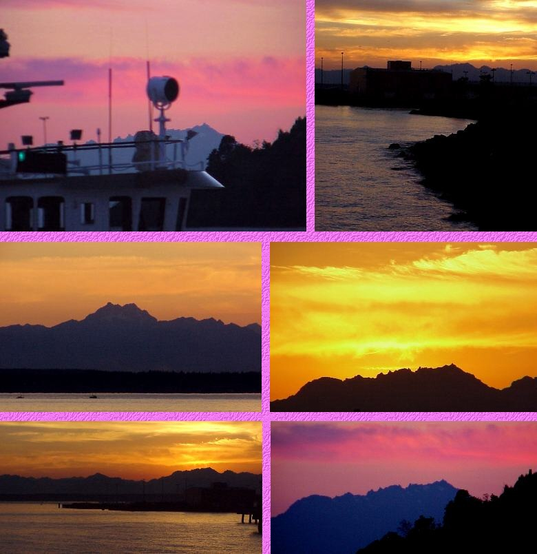 Seattle's Pier 89 Sights - Tugboat and Olympic Mountain Sunsets - 8/23/00