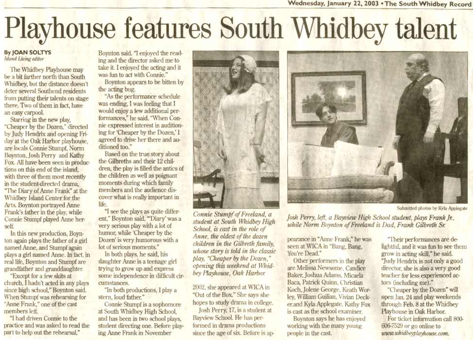South Whidbey Record Article - 1/22/03