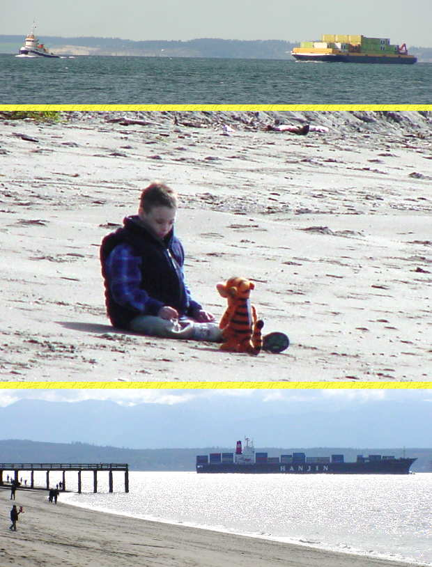 Gio at the Beach with Tigger - April 14, 2001