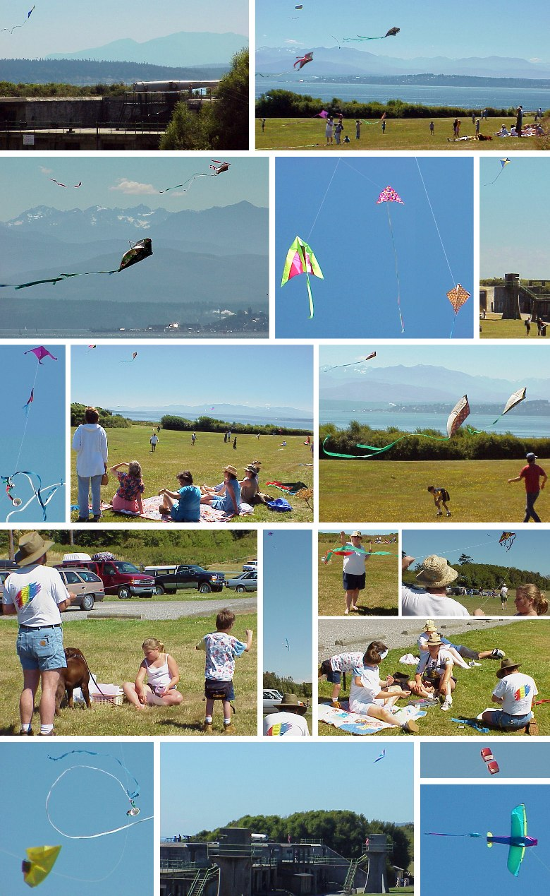 Flying Kites at Fort Casey - 7/30/00